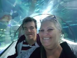 Bruce McCoombe and suppor tworker Mandy enjoying Underwater World